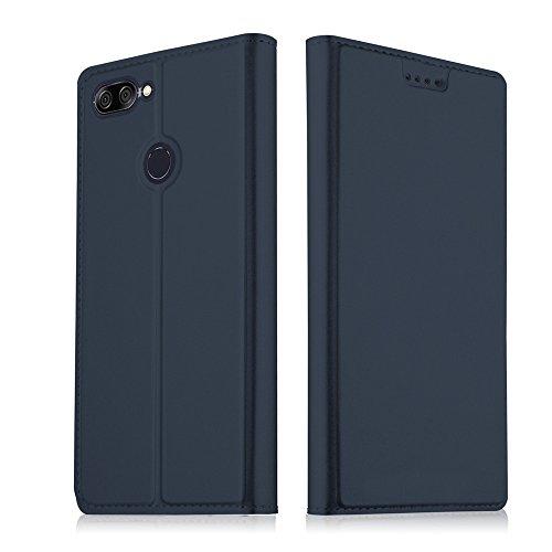 フリップ 財布 シェル の Asus ZenFone Max Plus (M1) 新しい 衝撃 保護 〜と カード スロットs 軽量 男の子 且つ 調節可能な 立つ Blue