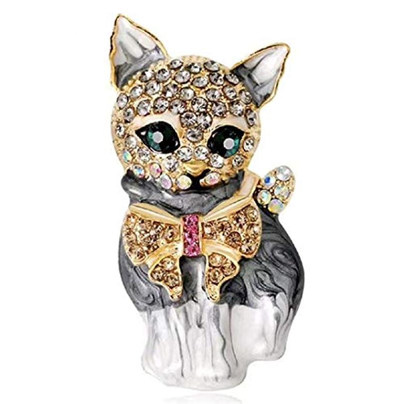 君主分割偽物Underleaf 女性のための素敵な猫のブローチピンクリスタルエナメルピン動物ブローチジュエリーアクセサリー