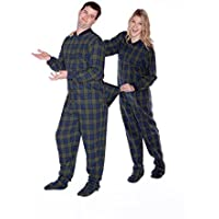 Navy Blue & Green Plaid Flannel Adult Footed Pajamas w/Drop Seat Onesie