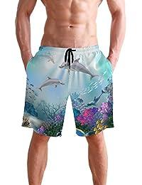 VAWA 水着 メンズ サーフパンツ おしゃれ ビーチパンツ 海水パンツ 短パン 吸汗速乾 大きいサイズ 水陸両用 海 海豚柄 魚柄