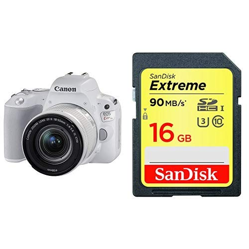 SDカード16GBセット(sandisk)Canon デジタル一眼レフカメラ EOS Kiss X9 EF-S18-55 IS STM レンズキット(ホワイト) KISSX9WH1855F4ISSTML