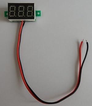【elfin203】小型デジタル電圧計 黄 2.5V~30V (2線式=別電源不要/埋込型)