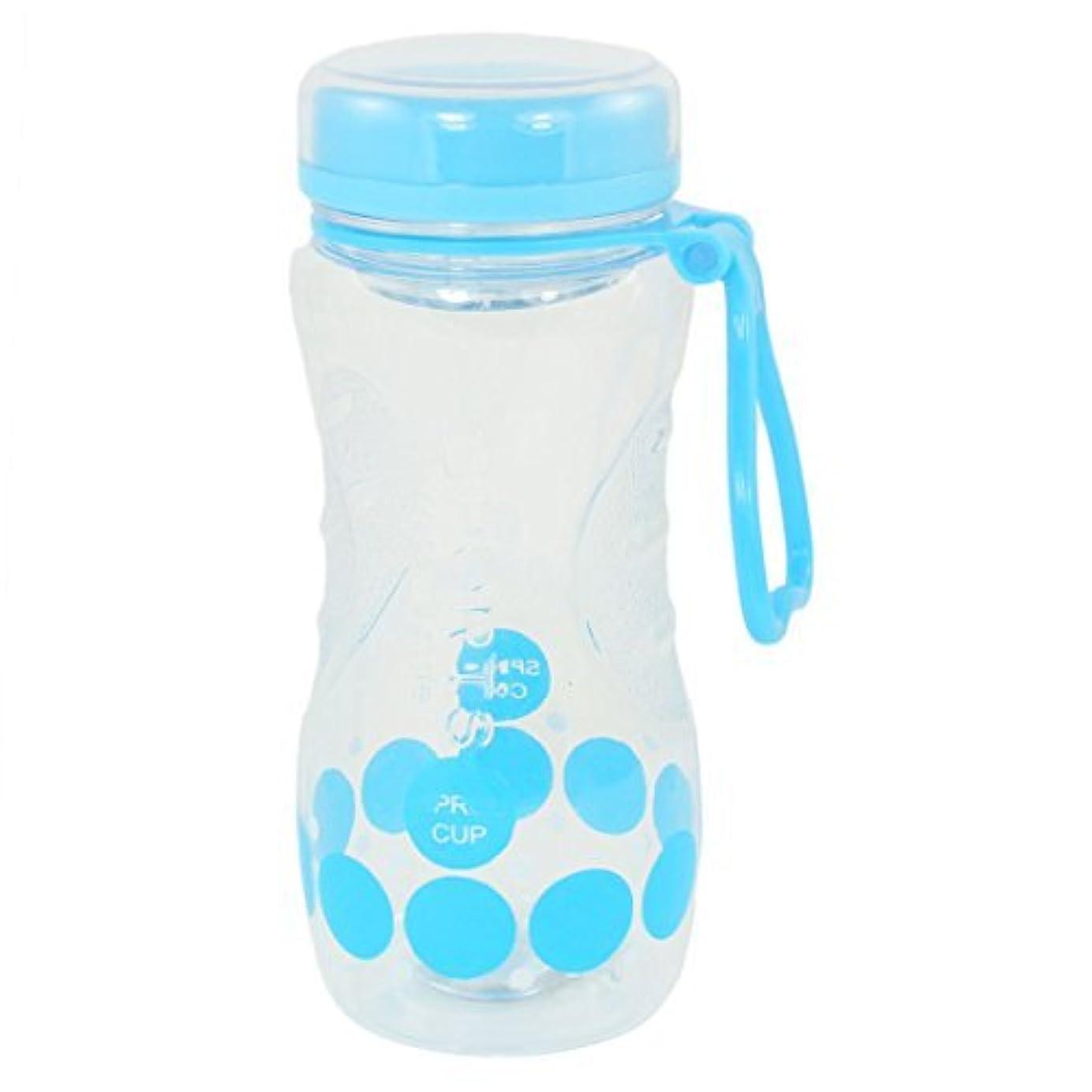 二層試してみる段階ラウンドパターンのプラスチックウォーターボトルドリンクカップ420ミリリットルブルークリア