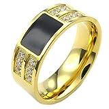 KONOV ジュエリー ファッション アクセサリー メンズ レディース リング 指輪, クラシック, ジルコニア ダイヤ, ステンレス, カラー:ゴールド(金); ブラック;[ギフトバッグを提供] - [24号]