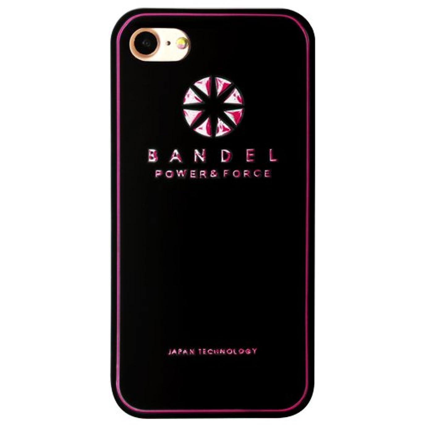 海軍瞑想するボリュームバンデル(BANDEL) ロゴ iPhone 8 Plus専用 シリコンケース [ブラック×ピンク]