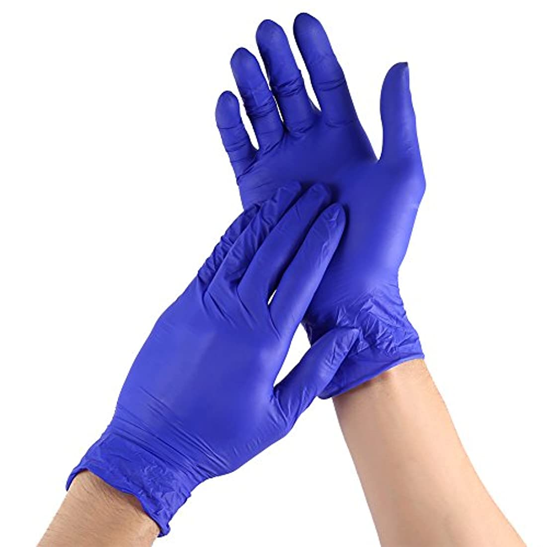 評価可能物語線形100枚セット 使い捨て手袋 ニトリルゴム手袋 薄い手袋 粉なし 手荒れ防止 メンズ レディース 左右兼用 伸縮性 三つサイズ選択可 作業用 家庭用 仕事 オフィス (S)