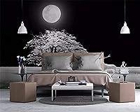 KAHSFA 3Dの壁紙 カスタム壁紙北欧スタイルの木エルク夜壁画テレビの背景壁家の装飾リビングルームの寝室の 壁紙-200cmx140cm