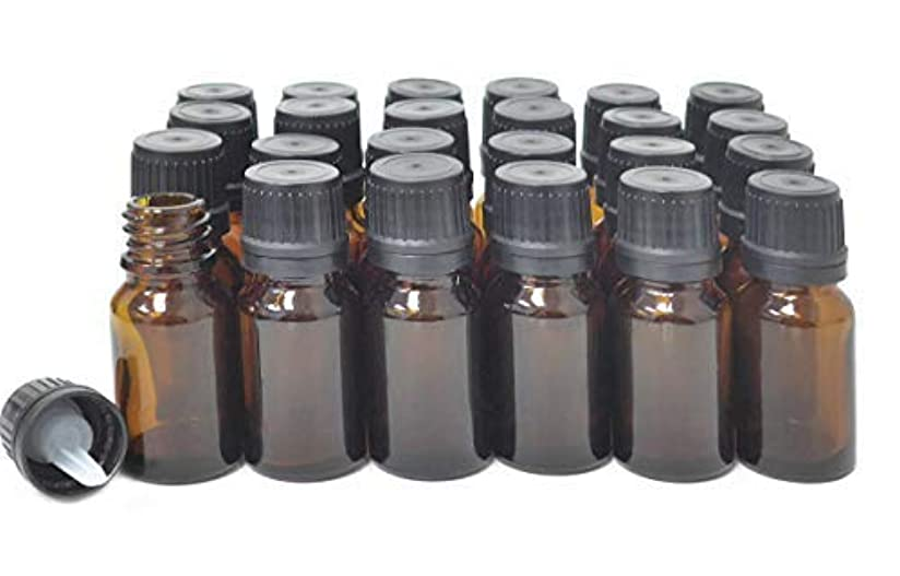 ニックネーム織るサルベージljdeals 10ml Amber Essential Oil Bottle with Euro Dropper Black Cap Glass Bottles Pack of 24 [並行輸入品]