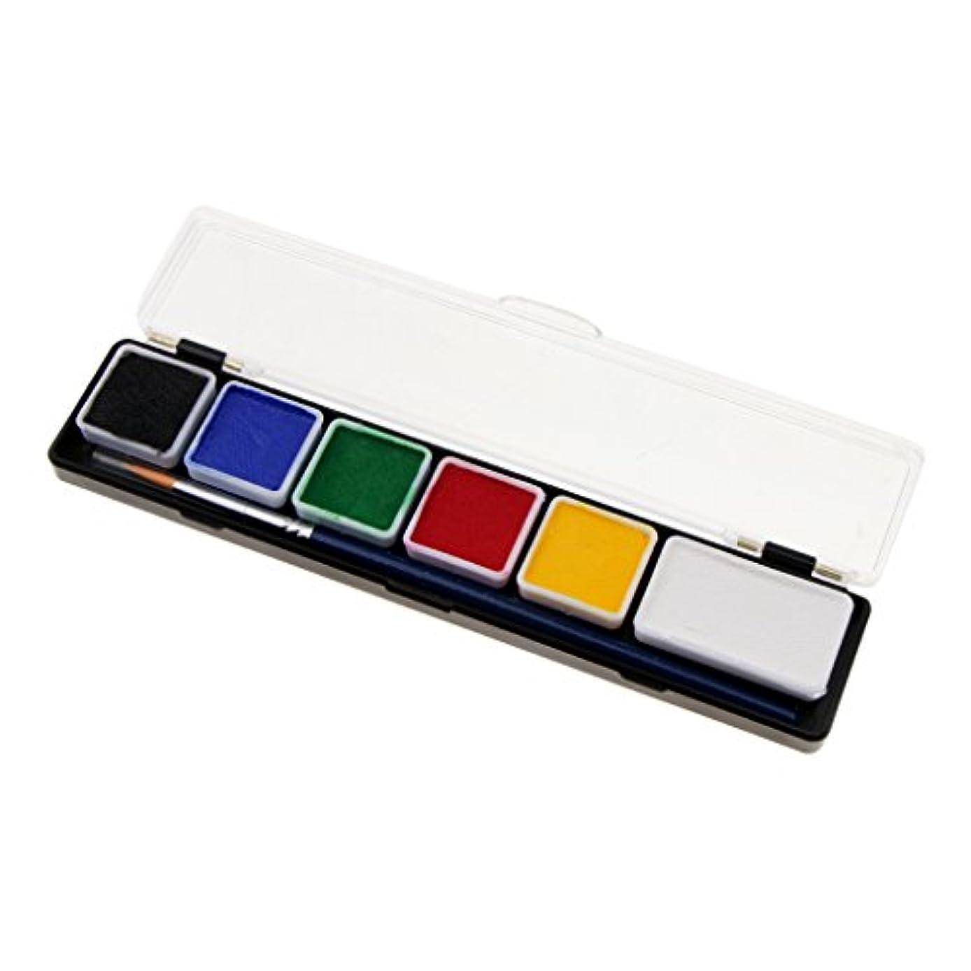 おとうさんマイクロプロセッサ遊びますフェイスペイントパレット ボディーペイント 化粧ブラシ 絵画 パーティー 応援 ハロウィン 6スタイル選べ - RT005A