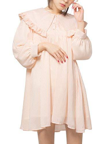 [モンリリー] mon Lily ビッグ襟 ストライプ ドール ブラウス ワンピース L アイボリー レディース