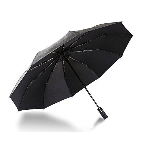 AUOPLUS 折り畳み傘 ワンタッチ自動開閉 撥水加工 10本骨 120cm 耐強風(猛烈な台風でも) 晴雨兼用 防紫外線 収納ポーチ付き 梅雨対策 ブラック