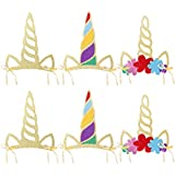 PRETYZOOM 12 Pcs Unicorn Theme Party Unicorn Horn Hats Birthday Hats Shiny Unicorn Horn with Glitter Lovely Horn Props for Kids Birthday Party Photo Props