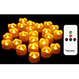 Topstone Remote contorl Tealights with Timer,Battery Operated Flameless Candle with Flickering Amber Bulb,Electric Tea Light