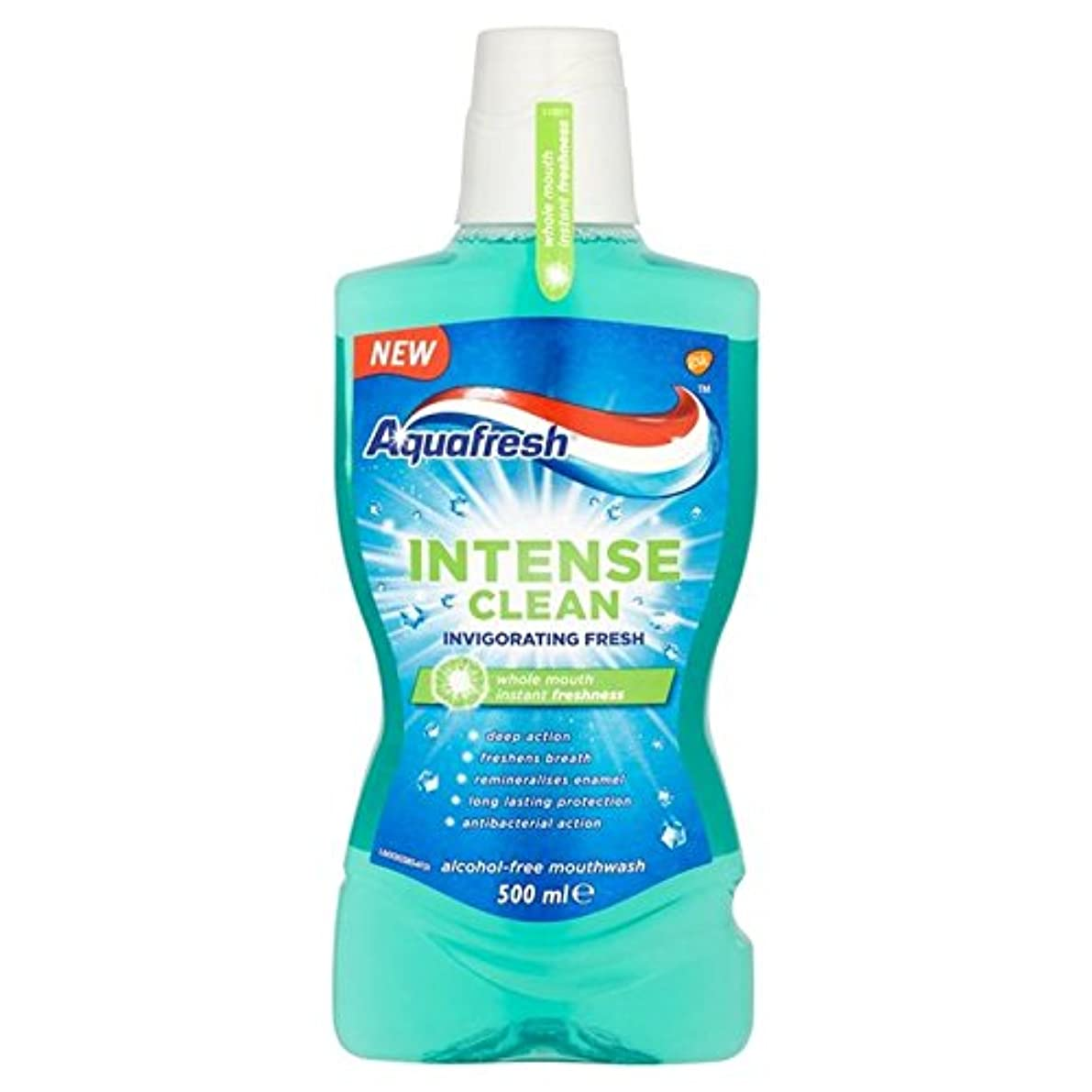 巨人アラームやむを得ないアクアフレッシュ強烈なきれいな爽快ウォッシュ500ミリリットル x4 - Aquafresh Intense Clean Invigorating Wash 500ml (Pack of 4) [並行輸入品]
