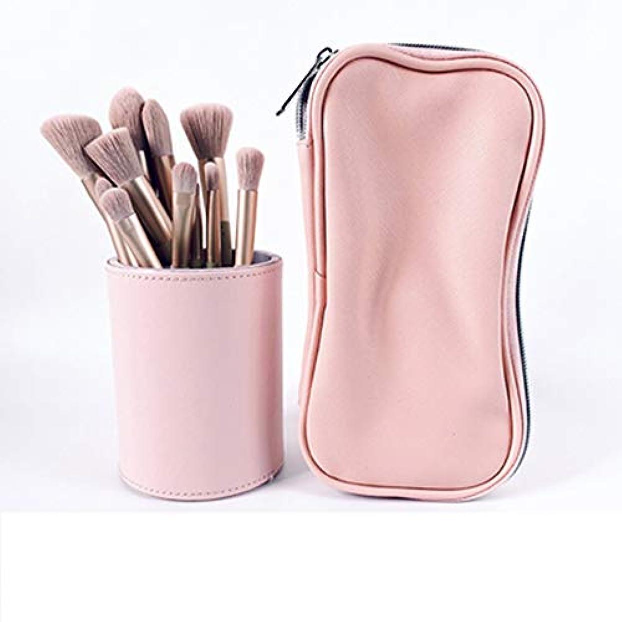 警官エコー減らす12ゾディアックメイクブラシセットアイシャドウブラシアイブローブラシチークパウダーブラシマイクロクリスタルメイクブラシ毛美容メイクアップツール (Color : Pink)