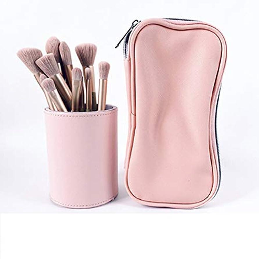 ハンバーガー同様に光電12ゾディアックメイクブラシセットアイシャドウブラシアイブローブラシチークパウダーブラシマイクロクリスタルメイクブラシ毛美容メイクアップツール (Color : Pink)