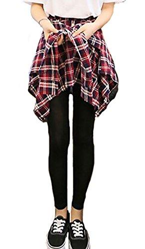 [해외]세레쿠티아 (SELECTIA) 여성 레깅스 바지 허리띠 바람 체크 무늬 스커트있는 레이어드 롱 컬러 레기 팬 하의 패션/Selector (SELECTIA) Ladies Leggings Pants Lumbar Wind Check Plaid with Skirt Long Length Color Legipan Bottoms Fasion