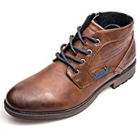 XPER Men's Chukka Boots - Fashion Brown Slip on Winter Ankle Boots Lace up Slide Zipper Work Footwear Boots, Big Size 7-15