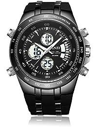 [ビンズ] BINZI メンズ腕時計 アナログ デジタルディスプレイ 軍事腕時計 バックライト多機能ウォッチ