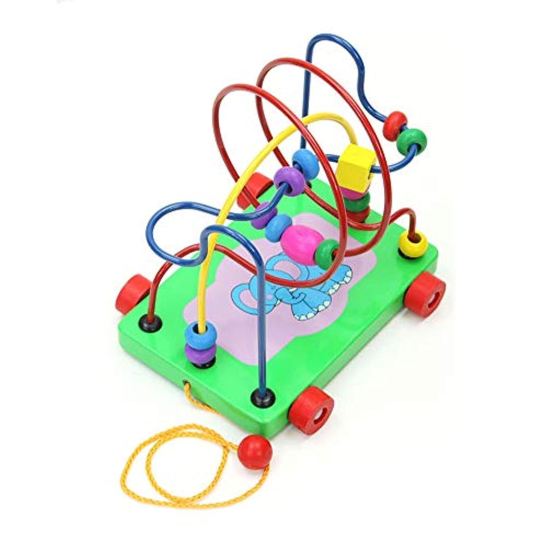 123Loop 木製トレーラービーズストリングおもちゃ 木製 子供用 トレーラービーズ ストリングパズル 教育玩具 子供用