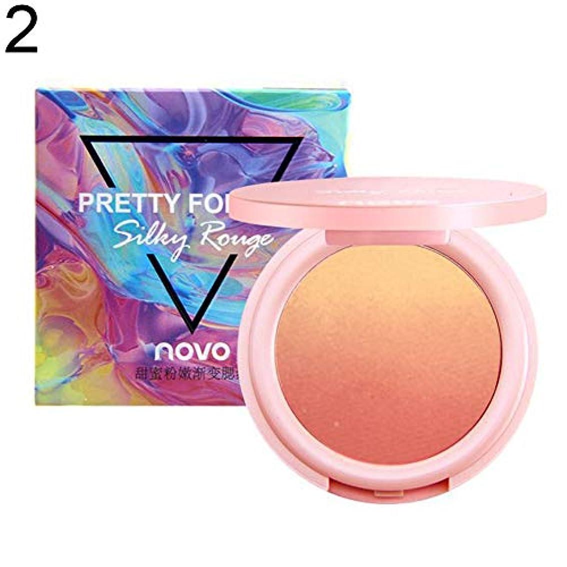 完全にジーンズピクニックをするNOVOプロ2色フェイスブラッシャーパウダー長続きがする明るく頬化粧品 - 2#