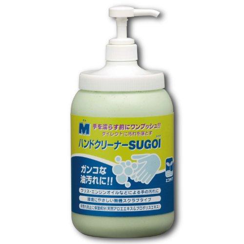 ミドリ安全 【ガンコな油汚れに/スクラブ入り】 ハンドクリーナー SUGOI ポンプ付ボトル(1.4kg)