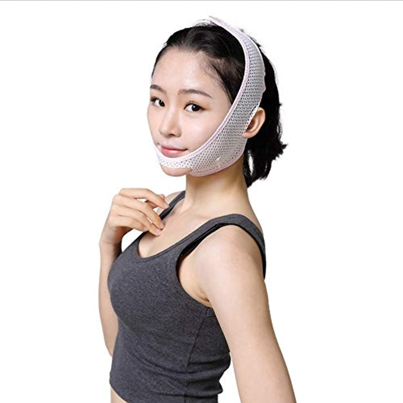 器用慈悲ワックス薄い顔ベルトは、超薄型通気性のフェイスリフティングと引き締め二重あご、2つのサイズのひげ包帯フェイシャル?術後プラスチック修復マスク (Size : L)