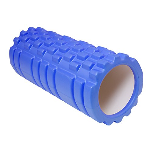 MRG フォームローラー 筋膜リリース グリッド ローラー ショート ストレッチ (ブルー)