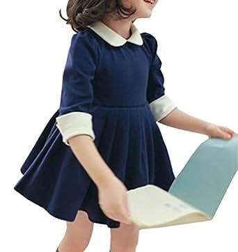 (キュアキュア) CURECURE キッズ ガールズ 長袖 フォーマル ワンピース ホワイト 襟付き フレア チュニック ワンピ 子供服 100 青色