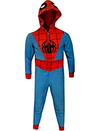 MJC Men's Spiderman Hooded Fleece One Piece Slim Cut Pajama