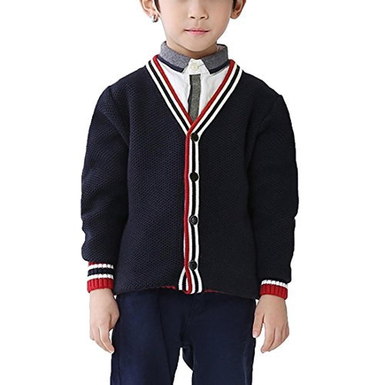 キッズ Vネック ケーブル編み コットン カーディガン セーター 男の子 子供服
