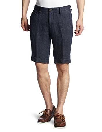 Washed Linen Short 113-31-1688: Navy