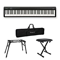ROLAND FP-10 BK 電子ピアノ ポータブルピアノ 4本脚スタンド/X型椅子/キャリングケース付きセット