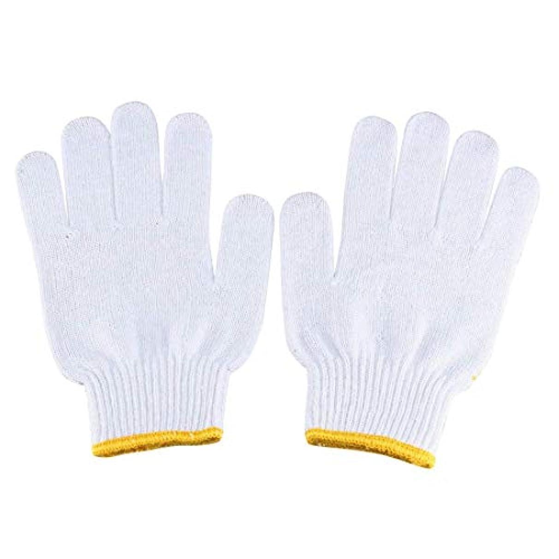 ばかげている温帯魅了するeDealMax 5ペア黄色ゴムドット柄弾性手首カフ滑り止め作業用手袋
