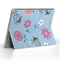 Surface go 専用スキンシール サーフェス go ノートブック ノートパソコン カバー ケース フィルム ステッカー アクセサリー 保護 フラワー 花 キャラクター 青 003797