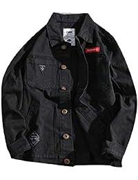 gawaga メンズ大サイズシングルは、ルーズデニムジャケットアウトコートコート