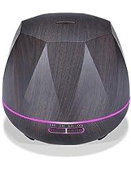 木目 涼しい霧 加湿器,7 色 空気を浄化 加湿機 時間 デスクトップ 精油 ディフューザー アロマネブライザー Yoga ベッド 寮- 300ml