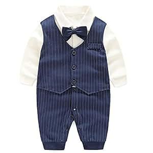 エルフ ベビー(Fairy Baby)ベビーフォーマル セレモニーロンパース 結婚式服 男の子80cm 紺色 ストライプ