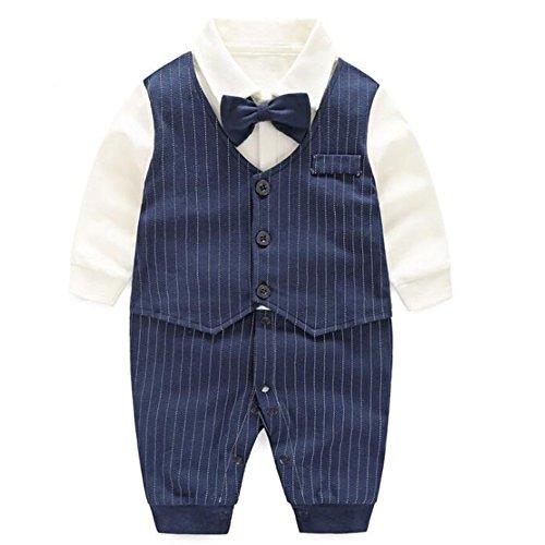 エルフ ベビー(Fairy Baby)ベビーフォーマル男の子 セレモニーロンパース 結婚式服 男の子59cm 紺色 ストライプ