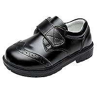 Zhhlinyuan 良質 Black Children's Comfort Non-slip Shoes Fashion PU Leather Boys Shoes W01