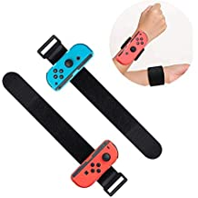 2 Pack Wrist Bands Compatible with Nintendo Switch Joy-Cons Controller, Adjustable Strap for Just Dance Game 2019 Blue and Red