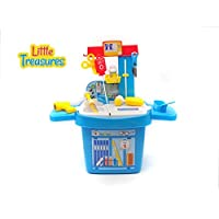 Little Treasures MEDICINE 21 piece pretend and play set with a selection of equipment and play medicine all housed in a Doctor's bench and 'bucket' style Dr storage cabinet [並行輸入品]