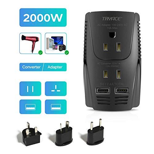 TRYACE 海外旅行用 変圧器 2000W/10A 2-USBポート コンセント変換 UK/AU/US/EU変換プラグ付き 220V to 110V±10%に変換 降圧トランス 変換器 150ヶ国以上通用 ヘアドライヤーに対応 収納袋付き (黑)