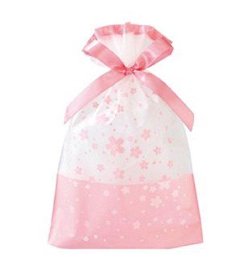 KANARIA 選べる ラッピング 袋 10枚入 / ギフト 包装 バッグ / プレゼント 贈り物 / 巾着 リボン 付 / 14.8×23.5×6㎝ / 桜 ピンク グリーン ハッピーバースデー (フラワー)