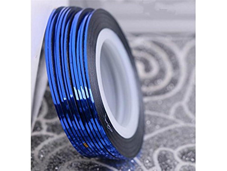 スロー血色の良いトランクライブラリOsize ネイルアートキラキラゴールドシルバーストリップラインリボンストライプ装飾ツールネイルステッカーストライピングテープラインネイルアートデコレーション(ダークブルー)