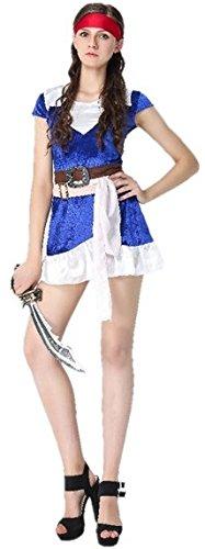 女 海賊 コスチューム 衣装セット(バンダナ ワンピース ベルト×2 腰巻布) 大人 レディース フリーサイズ