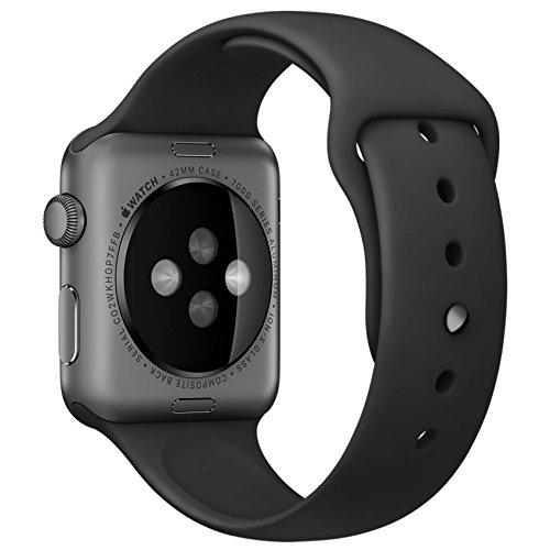 Apple Watch Sport 42mmスペースグレイアルミニウムケースとブラックスポーツバンド