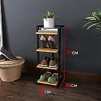 HTDZDX 靴棚シンプルなシューズラック小省のバスルーム靴は、多層靴経済鍛鉄シューズラックラックラック (Color : Black, Size : 28cm*26cm*71cm)