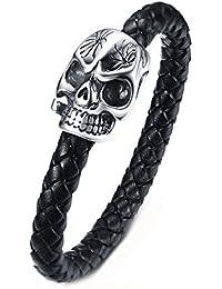 Aooaz ステンレス ブレスレット 腕輪 メンズ バングル カフ 髑髏 頭蓋骨 ブラック シルバー 21cm