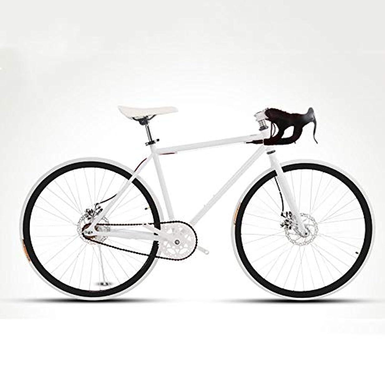 感動する教会ナインへLRHD 利用可能なロードバイクのために男性と女性、シンプルな自転車、大人の女性の自転車、学生男子ダブルディスクブレーキスポーツカー、24分の26インチの2つのサイズ、空気圧レーシング(白、黒) (サイズ : L)